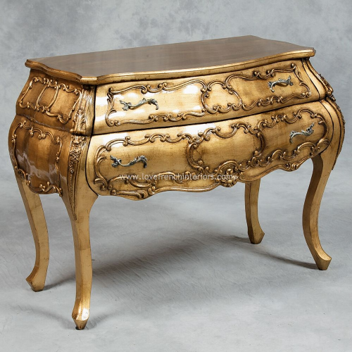 Bow Fronted Bombe Chest in Antique Gold